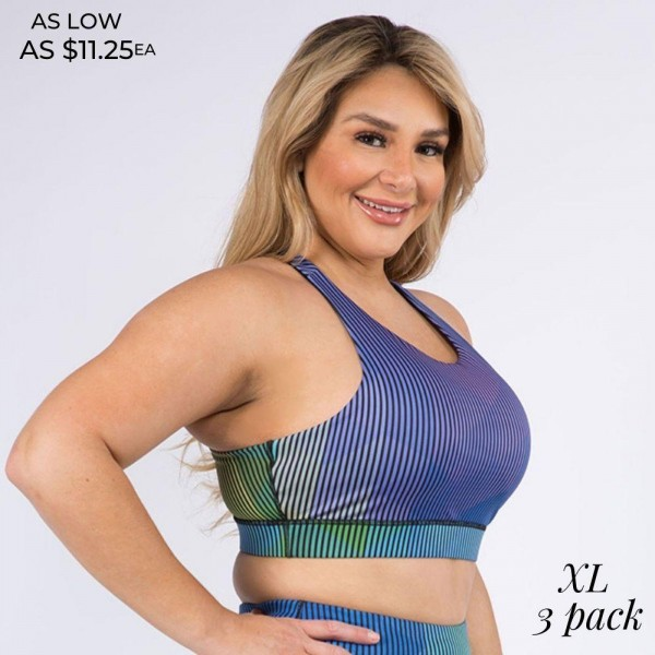 Women's Plus Size Geometric Pinstripe Athletic Sports Bra. (XL Only) (3 Pack)  High neckline • Two removable pads provide shaping & support • Racerback design • Moisture wicking fabric • Stretchy and comfortable • 4-way stretch for a move-with-you feel • Pullover styling • Great for all low-medium impact workouts • Imported  - 3 Sports Bras Per Pack - Sizes: ALL 3 XL  - Body: 46% Polyester, 41% Nylon, 13% Spandex - Lining 1: 80% Nylon, 20% Spandex - Lining 2: 75% Nylon, 25% Spandex