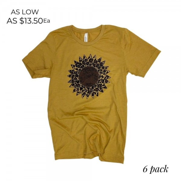 Leopard Print Sunflower Graphic Tee.  - Printed on a Bella Canvas Brand Tee - Color: Mustard - 6 Shirts Per Pack - Sizes: 1-S / 2-M / 2-L / 1-XL - 52% Cotton / 48% Polyester