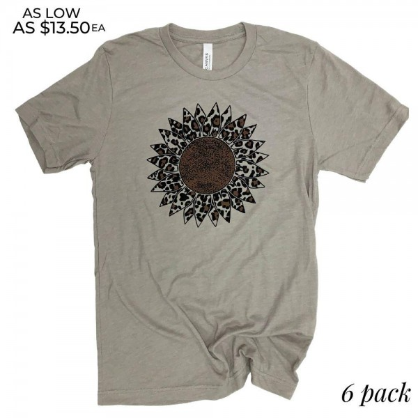 Leopard Print Sunflower Graphic Tee.  - Printed on a Bella Canvas Brand Tee - Color: Stone - 6 Shirts Per Pack - Sizes: 1-S / 2-M / 2-L / 1-XL - 52% Cotton / 48% Polyester