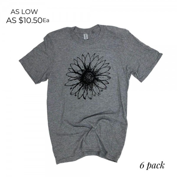 Sunflower Graphic Tee.  - Printed on a Gildan Softstyle Brand Tee - Color: Dark Grey - 6 Shirts Per Pack - Sizes: 1-S / 2-M / 2-L / 1-XL - 50% Cotton / 50% Polyester