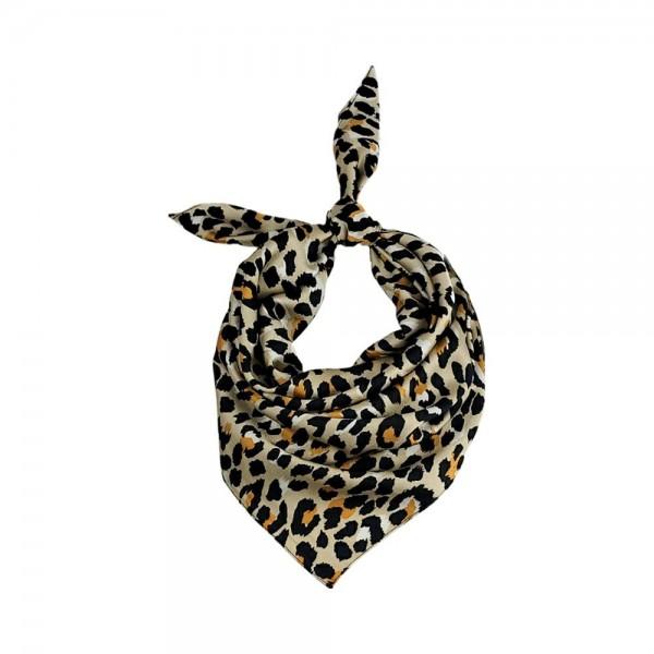 "Cheetah Print Bandana Scarf.   - 100% Polyester  - Approximately 27.5"" x 27.5"""