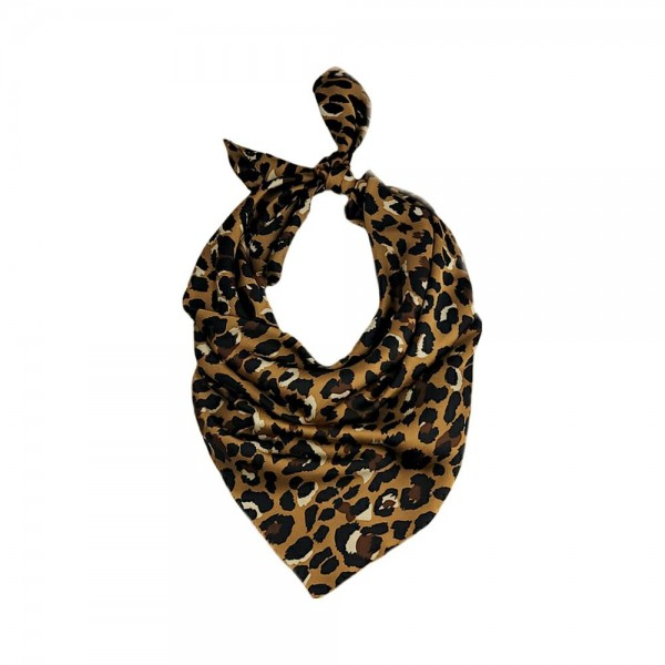 "Cheetah Print Bandana Scarf.   - 100% Polyester  - Approximately 27.5"" x 27.5"""