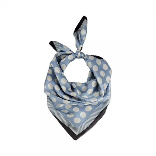 "Polka Dot Bandana Scarf.   - 100% Polyester  - Approximately 27.5"" x 27.5"""