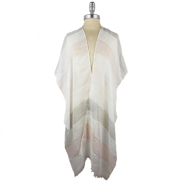 Striped Kimono Featuring Sparkly Accents.   - 100% Polyester  - One Size Fits Most 0-14  - Open Closure Design & Relaxed Fit  - Hand Wash Cold / Do Not Bleach, Tumble Dry, Or Iron