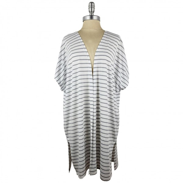 Lightweight Striped Kimono.   - 95% Polyester / 5% Spandex - One Size Fits Most 0-14  - Open Closure Design & Relaxed Fit  - Hand Wash Cold / Do Not Bleach, Tumble Dry, Or Iron