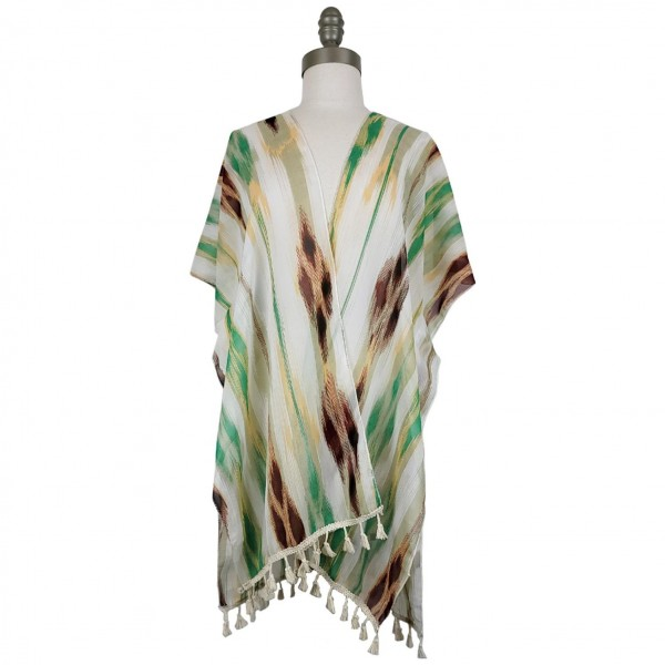 Lightweight Kimono Featuring a Colorful Striped Pattern and Tassel Accents.   - 100% Polyester  - One Size Fits Most 0-14  - Open Closure Design & Relaxed Fit  - Hand Wash Cold / Do Not Bleach, Tumble Dry, Or Iron