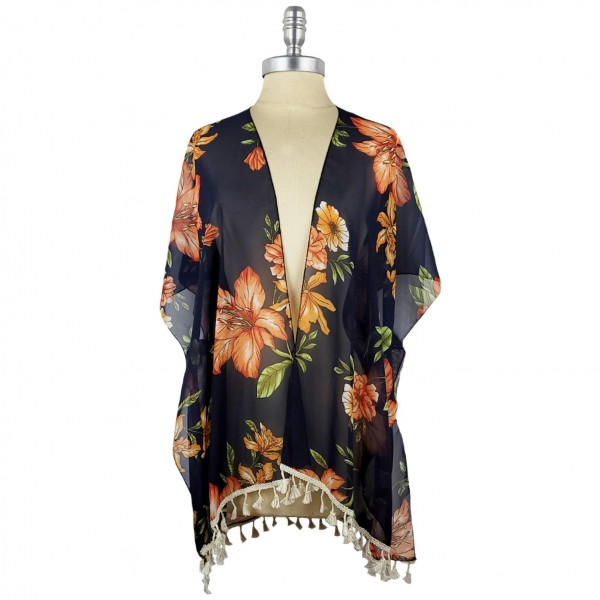 Lightweight Kimono Featuring a Floral Pattern and Tassel Accents.   - 100% Polyester  - One Size Fits Most 0-14  - Open Closure Design & Relaxed Fit  - Hand Wash Cold / Do Not Bleach, Tumble Dry, Or Iron