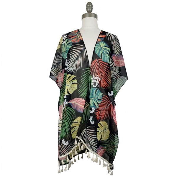 Lightweight Kimono Featuring a Colorful Tropical Inspired Pattern and Tassel Accents.   - 100% Polyester  - One Size Fits Most 0-14 - Open Closure Design & Relaxed Fit  - Hand Wash Cold / Do Not Bleach, Tumble Dry, Or Iron