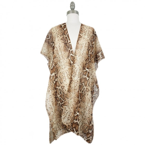 Lightweight Snake Print Kimono.   - 100% Polyester  - One Size Fits Most 0-14 - Open Closure Design & Relaxed Fit - Hand Wash Cold / Do Not Bleach, Tumble Dry, Or Iron