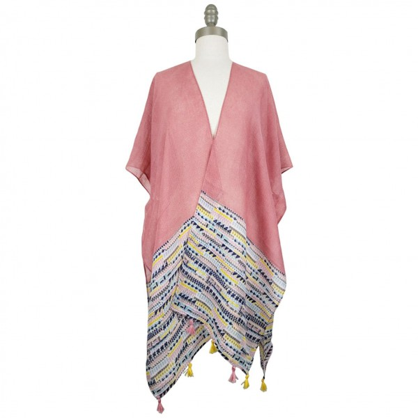 Lightweight Kimono Featuring a Colorful Tribal Pattern and Tassel Accents.   - 100% Polyester  - One Size Fits Most 0-14 - Open Closure Design & Relaxed Fit
