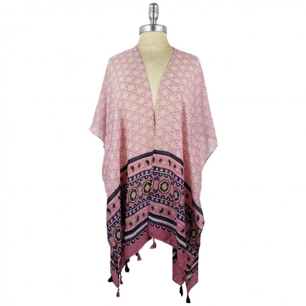 Lightweight Kimono Featuring a Colorful Floral Inspired Pattern and Tassel Accents.   - 100% Polyester  - One Size Fits Most 0-14  - Open Closure Design & Relaxed Fit - Hand Wash Cold / Do Not Bleach, Tumble Dry, Or Iron