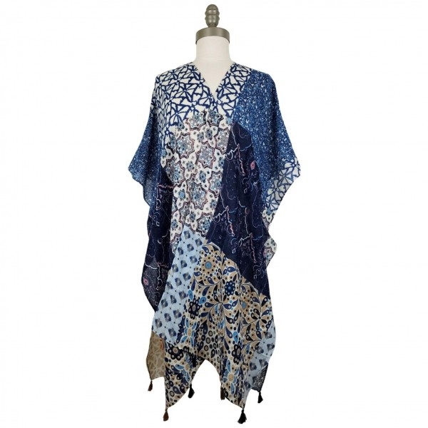 Lightweight Kimono Featuring a Colorful Patchwork Inspired Pattern and Tassel Accents.   - 100% Polyester  - One Size Fits Most 0-14  - Open Closure Design & Relaxed Fit - Hand Wash Cold/ Do Not Bleach, Tumble Dry, or Iron
