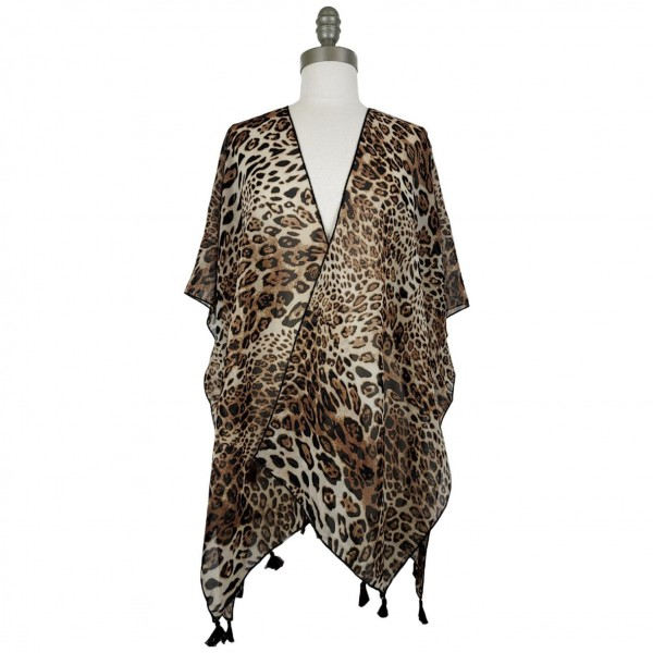 Lightweight Cheetah Print Kimono Featuring Tassel Accents.   - 100% Polyester  - One Size Fits Most 0-14  - Open Closure Design & Relaxed Fit  - Hand Wash Cold / Do Not Bleach, Tumble Dry, Or Iron