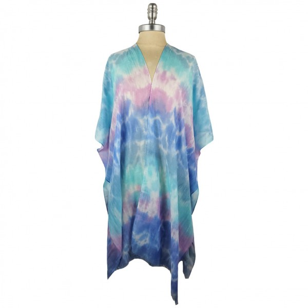 Lightweight Tie Dye Kimono.   - 100% Polyester - One Size Fits Most 0-14 - Open Closure Design & Relaxed Fit
