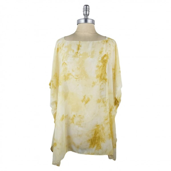 Sheer Short Sleeved Tie Dye Tunic   - Relaxed Jewel Neckline - 100% Polyester  - One Size Fits Most 0-14  - Hand Wash Cold/ Do Not Bleach, Tumble Dry, or Iron