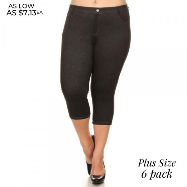 "Women's Plus Size Capri Jeggings Featuring Faux Fly and Contrast Stitching. (6 pack)  • Jean like Jeggings • 5 Pockets • Button Embellishment • Rhinestones Pocketing • Skinny Leg Design • Super Stretchy  - 6 Pair Per Pack - Sizes: 4:L/XL & 2:XL/2XL - Inseam approximately 20"" L  - Polyester 90%, Spandex 10%"
