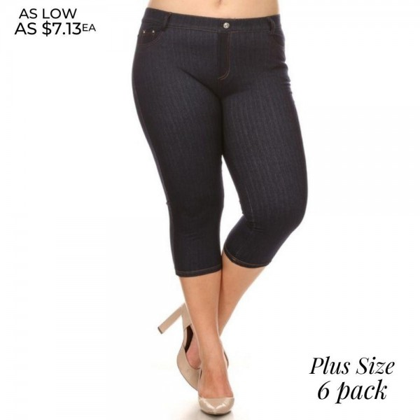 """Women's Plus Size Capri Jeggings Featuring Faux Fly and Contrast Stitching. (6 pack)  • Jean like Jeggings • 5 Pockets • Button Embellishment • Rhinestones Pocketing • Skinny Leg Design • Super Stretchy  - 6 Pair Per Pack - Sizes: 4:L/XL & 2:XL/2XL - Inseam approximately 20"""" L  - Polyester 90%, Spandex 10%"""