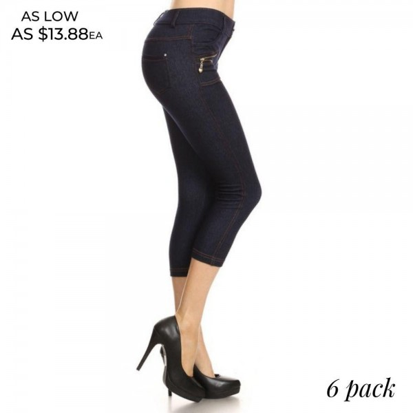 "Women's Denim Like Carpi Jeggings. (6 pack)  *Jean like Jeggings *4 Pockets *Button Embellishment *Zipper Detailing *Rhinestones Pocketing *Skinny Leg Design *Super Stretchy  - 6 Pair Per Pack - Sizes: 2:S/M & 4:M/L - Inseam approximately 20"" L  - Polyester 90%, Spandex 10%"