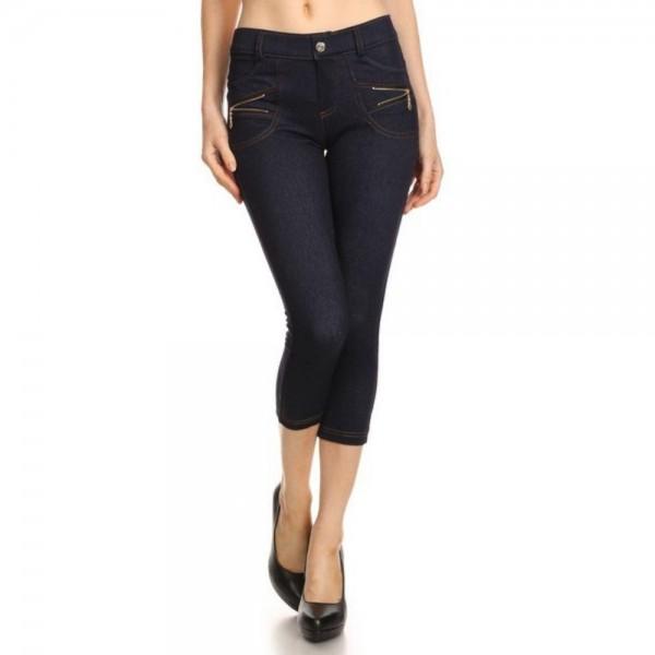 "Women's Denim Like Carpi Jeggings. (6 pack)  *Jean like Jeggings *4 Pockets *Button Embellishment *Zipper Detailing *Rhinestones Pocketing *Skinny Leg Design *Super Stretchy  - 6 Pair Per Pack - Sizes: 2:S/M & 4:M/L - Inseam approximately 20"" L  - Polyester 90%, Spandex 10%"