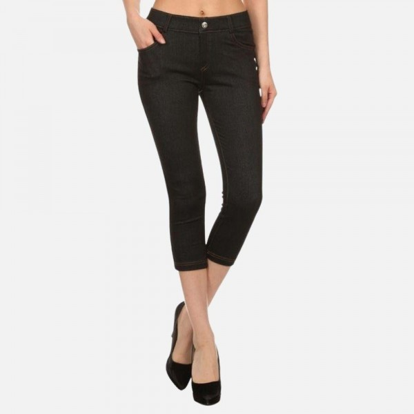 """Women's Capri Jeggings Featuring Faux Fly & Contrast Stitching. (6 pack)  • Jean like Jeggings • 5 Pockets • Button Embellishment • Rhinestones Pocketing • Skinny Leg Design • Super Stretchy  - 6 Pair Per Pack - Sizes: 2:S/M & 4:M/L - Inseam approximately 20"""" L  -  Polyester 90%, Spandex 10%"""