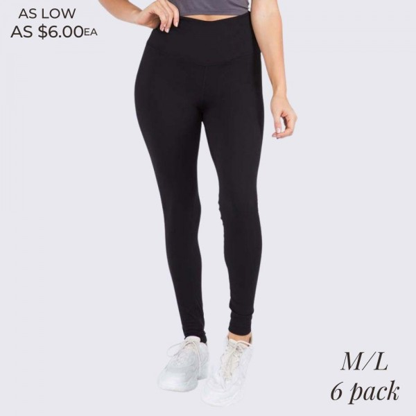 "Women's 5"" Black High Rise Casual Leggings.  • Wide, high rise waistband lies flat against your skin • Interior waistband pocket can hold keys, cards, cash • Flattering seam detail • Peach Skin • Long skinny leg design • Comfortable and easy pull-up style • Solid color, Stretchy fabrication • Fits like a Glove • Perfect for layering or wearing alone • Imported  - 6 Pair Per Pack - Size: ALL 6 M/L  - Inseam approximately 28"" L - 90% Polyester, 10% Spandex"