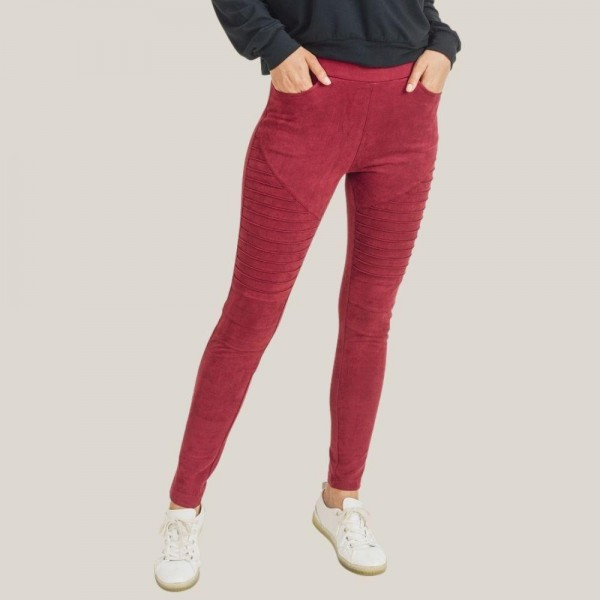 "Women's Faux Suede Moto Skinny Jeggings.  • Elasticized pull-up waistband • Mid rise • 4 functional pockets • Textured moto panels • Stretchy and soft vegan suede fabric • Skinny leg design • Comfortable for all day wear • Tapered hem • Imported  - 6 Pair Per Pack  - Sizes: 2:S 2:M 2:L - Inseam approximately 28"" L  - 90% Polyester, 10% Spandex"