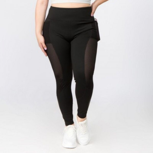 "Women's XL Plus Size Active Mesh Stripe Pocket Workout Leggings.  • Double layered waistband in a high rise fit • Sweat wicking jersey mesh side stripes • Functional 3-pocket design: 1 interior waistband pocket, 2 hip pockets • Smooth flat seams give you flexibility & no chaffing • Stretchy, smooth and lightweight fabric • Imported  - 3 Pair Per Pack - Sizes: ALL 3 XL - Inseam approximately 28"" L  - 83% Nylon, 17% Spandex"