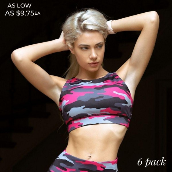 Women's Active Pink Camouflage Athletic Sports Bra.  • High neckline • Reinforced band provides a supportive fit • Two removable cups for support & shaping • Racerback design • Moisture wick fabric • Stretchy and comfortable • Perfect for all of your favorite workouts • Great for low-medium impact workouts • Imported  - 6 Sports Bra's Per Pack - Sizes: 2:S 2:M 2:L - Body: 46% Polyester, 41% Nylon, 13% Spandex - Lining: 80% Nylon, 20% Spandex, 75% Nylon, 25% Spandex