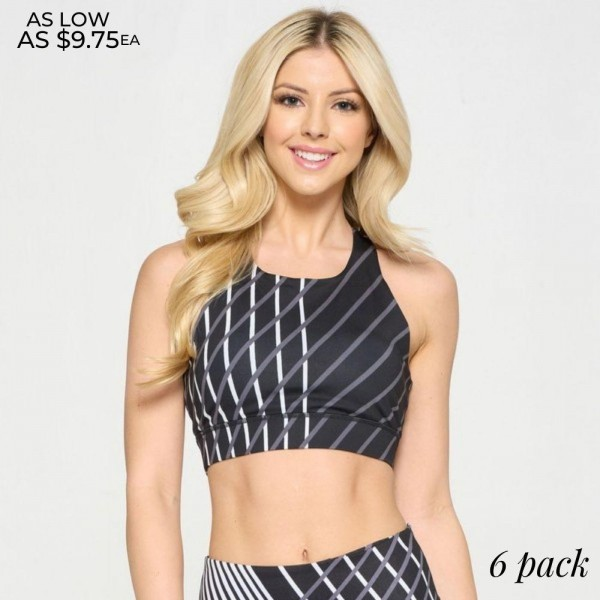 Women's Active Geo Stripe Athletic Sports Bra.  • High neckline • Two removable pads provide shaping & support • Racerback design • Moisture wicking fabric • Stretchy and comfortable • 4-way stretch for a move-with-you feel • Pullover styling • Great for all low-medium impact workouts • Imported  - 6 Sports Bra's Per Pack - Sizes: 2:S 2:M 2:L -  46% Polyester, 41% Nylon, 13% Spandex - Lining 1: 80% Nylon, 20% Spandex - Lining 2: 75% Nylon, 25% Spandex