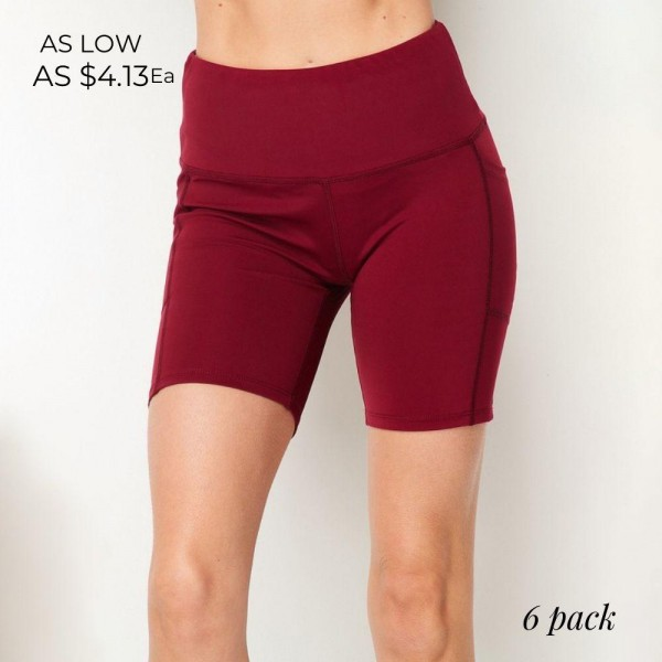 Wholesale waisted Biker Shorts Pack Polyester Spandex S M L XL