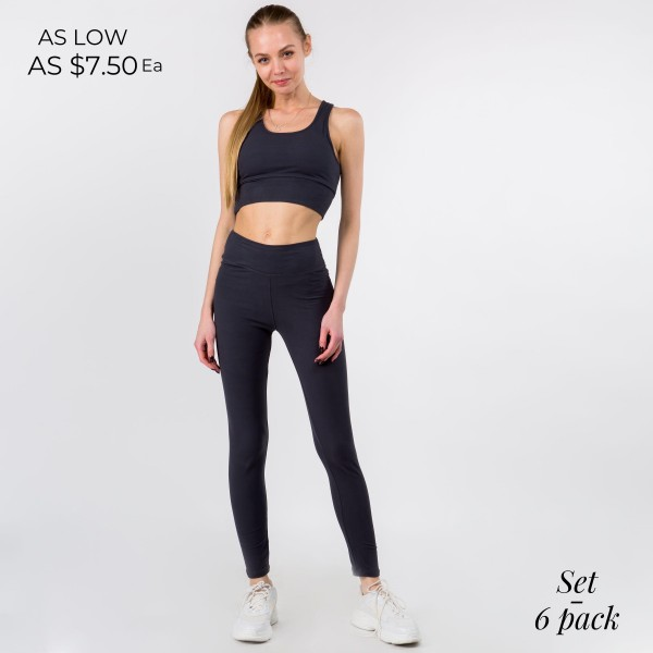 "Women's Active Wear Matching Set. (6 Pack) Matching Set Includes Leggings and Matching Sports Bra.  - 3"" Elastic Waistband Leggings - Sports Bra Contains Padding for Extra Support - 6 Sets Per Pack - Sizes: 3 S/M : 3 L/XL - 92% Polyester / 8% Spandex - Leggings Inseam Approximately 30"""