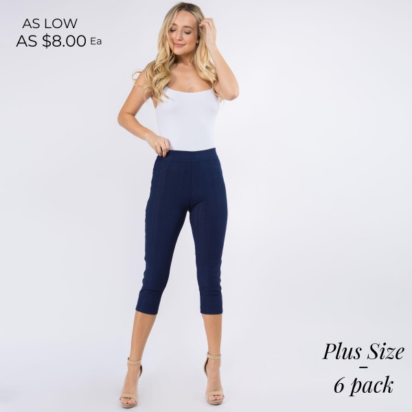 "Women's New Mix Brand Plus Size Capri Jeggings. (6 pack)  - 1"" Elastic Waistband  - Pull-On Styling  - Two Functional Back Pockets - Soft, Smooth & Stretch Material  - 6 Pair Per Pack - Sizes: 3:1XL/2XL - 3:2XL/3XL - Inseam 19"" Long  - 75% Cotton / 17% Polyester / 8% Spandex"