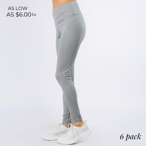 "Women's New Mix Brand Silky Full Length High Waistband Leggings. (6 pack)  - 4"" Elastic Waistband - Silky, Smooth & Cool Feel Material - Full Length   - 6 Pair Per Set - Sizes: 1:S 2:M 2:L 1:XL - Inseam 27"" Long - 82% Polyamide / 18% Spandex"