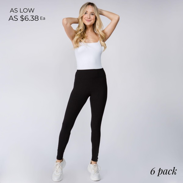 "Women's New Mix Brand Peach Skin Yoga Leggings Featuring Pockets. (6 pack)  - 2.5"" Elastic Waistband - Peach Skin - Smooth, Cool Feel Material - Full Length  - 6 Pair Per Set - Sizes: 1:S 2:M 2:L 1:XL - Inseam 27"" Long  - 92% Polyester / 8% Spandex"