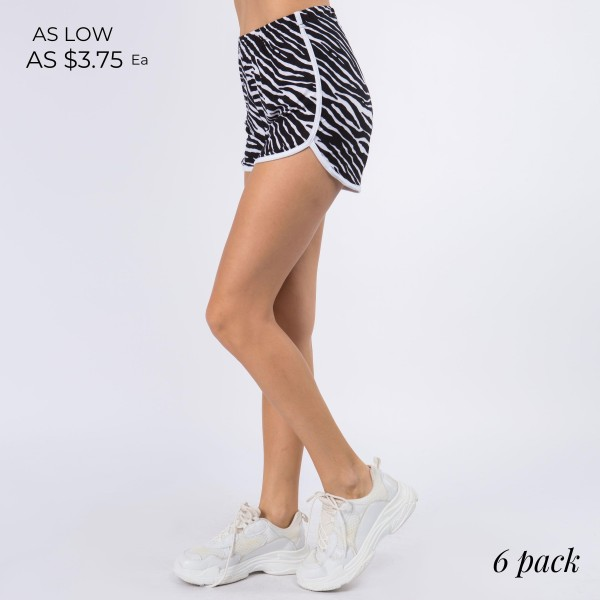 "Women's New Mix Brand Active Athletic Zebra Print Dolphin Shorts. (6 pack)  - 1"" Elastic Waistband - Smooth, Cool Feel Material   - 6 Pair Per Pack - Sizes: 1:S 2:M 2:L 1:XL - Inseam 4"" Long - 92% Polyester / 8% Spandex"