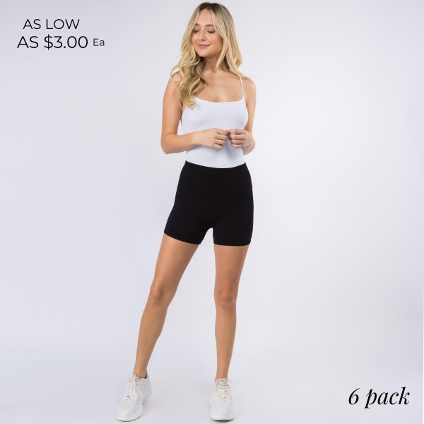 """Women's New Mix Brand Nylon Ribbed Seamless Basic Shorts. (6 pack)  - 1"""" Elastic Waistband  - Ribbed Style - Smooth, Cool Feel Material  - 6 Pair Per Set - Sizes: 3:S/M - 3:M/L - Inseam 2.5"""" Long - 92% Nylon / 8% Spandex"""
