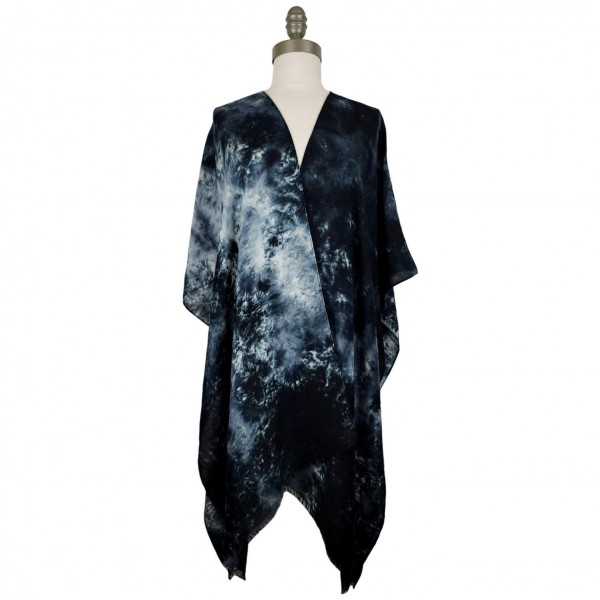 Tie Dye Summer Kimono / Scarf / Shawl.   - Versatile Styling Thanks to Innovative Design That Allows This Kimono To Be Styled As A Scarf, Wrap, or Kimono (No Seams In The Arms)  - 100% Polyester  - One Size Fits Most 0-14  - Hand Wash Cold / Do Not Bleach, Tumble Dry, Or Iron
