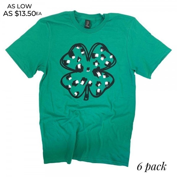 Leopard Print Clover Graphic Tee.  - Printed on an Anvil Lightweight Brand Tee - Color: Green - 6 Shirts Per Pack - Sizes: 1:S 2:M 2:L 1:XL - 100% Cotton