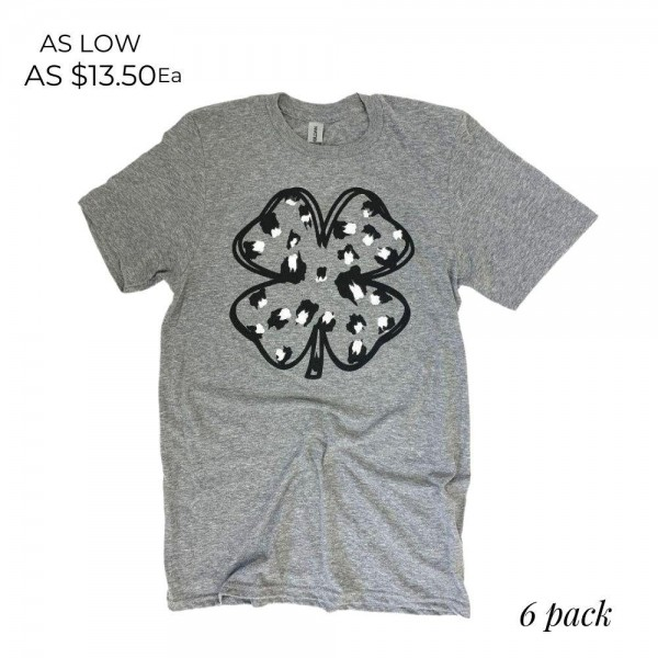 Leopard Print Clover Graphic Tee.  - Printed on a Gildan Softstyle Brand Tee - Color: Grey - 6 Shirts Per Pack - Sizes: 1:S 2:M 2:L 1:XL - 50% Cotton / 50% Polyester