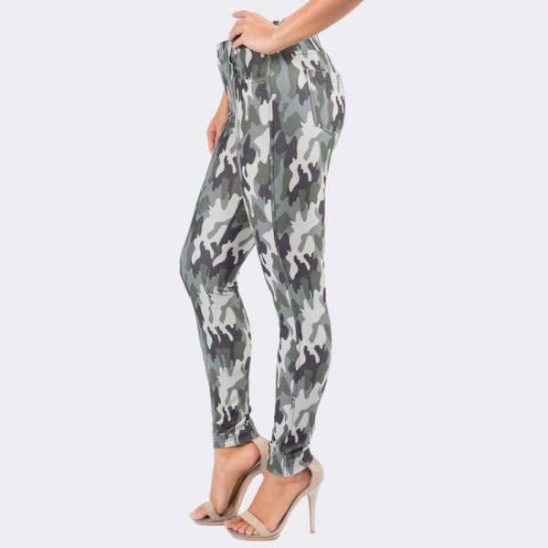 "Women's Plus Size Camouflage Cotton Blend Jeggings.  • Full length jeggings featuring a light sheen and jean-style construction • Lightweight, breathable cotton-blend material for all day comfort • Belt loops with 5 functional pockets • Super Stretchy • Shake Head Button • Pull up Style  - 6 Pair Per Pack - Sizes: 3:XL 2:2XL 1:3XL - inseam approximately 29"" L - 70% Cotton, 25% Polyester, 5% Spandex"