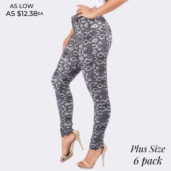 """Women's Plus Size Black Snakeskin Cotton Blend Jeggings. (6 Pack)  • Regular rise • Snake pattern throughout • Full length jeggings featuring a light sheen and jean-style construction • Lightweight, breathable cotton-blend material for all day comfort • Belt loops with 5 functional pockets • Super Stretchy • Shake Head Button • Pull up Style   - 6 Pair Per Pack - Sizes: 3:XL 2:2XL 1:3XL - Inseam approximately 29"""" L - 70% Cotton, 25% Polyester, 5% Spandex"""