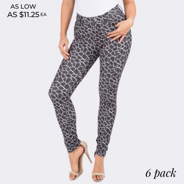 "Women's Giraffe Print Cotton Blend Skinny Jeggings. (6 Pack)  • Regular rise • Giraffe pattern throughout • Full length jeggings featuring a light sheen and jean-style construction • Lightweight, breathable cotton-blend material for all day comfort • Belt loops with 5 functional pockets • Super Stretchy • Shake Head Button • Pull up Style  - 6 Pair Per Pack - Sizes: 2:S 2:M 2:L - Inseam approximately 29"" L - 70% Cotton, 25% Polyester, 5% Spandex"