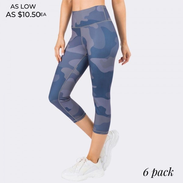 "Women's Active Blue Tone Camouflage Workout Capri Leggings. (6 Pack)   • High rise elasticized waistband • Hidden pocket for keys, cash, or phone • Reinforced high rise style waistband with open pocket • Camouflage print throughout • Squat Proof • Flat lock seams prevent chafing • Stretchy and soft • Moisture wicking fabric • Stretchy, smooth and lightweight fabric • Triangle crotch cotton lined gusset eliminates camel toe • Imported  - 6 Pair Per Pack - Sizes: 2:S 2:M 2:L - Inseam approximately 18"" L - 46% Polyester, 41% Nylon, 13% Spandex"