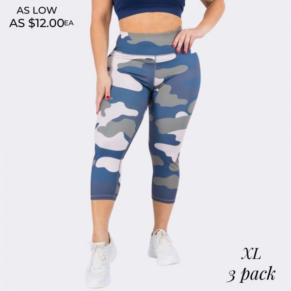 "Women's Plus Size Active Blue Tone Camouflage Workout Capri Leggings. (3 Pack)  • High rise elasticized waistband • Hidden pocket for keys, cash, or phone • Reinforced high rise style waistband with open pocket • Camouflage print throughout • Squat Proof • Flat lock seams prevent chafing • Stretchy and soft • Moisture wicking fabric • Stretchy, smooth and lightweight fabric • Triangle crotch cotton lined gusset eliminates camel toe • Imported  - 3 Pair Per Pack - Size: ALL 3 XL  - Inseam approximately 18"" L - 46% Polyester, 41% Nylon, 13% Spandex"