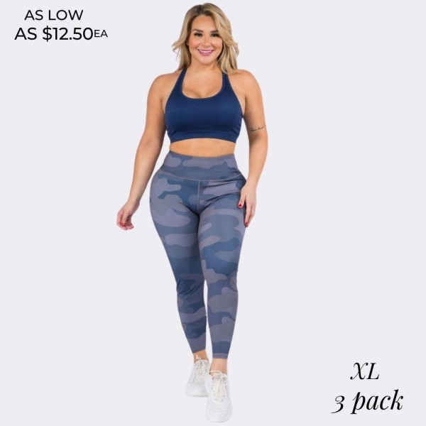 "Women's Plus Size Blue Tone Camouflage Workout Leggings. (3 Pack)   • Elasticized high rise style waistband • Hidden waist pocket perfect for phone, keys, cash • Camouflage print throughout • Squat Proof • Stretchy and soft • Moisture wicking fabric • 4-way-stretch fabric for a move-with-you feel • Tummy-flattening waistband • Flat lock seams prevent chafing • Full length  - 3 Pair Per Pack - Size: ALL 3 XL - Inseam approximately 28"" L - 46% Polyester, 41% Nylon, 13% Spandex"