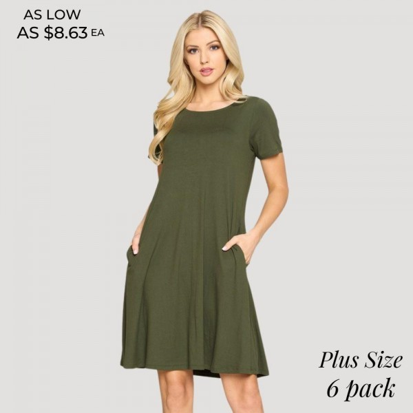 "Women's Plus Size Short Sleeve A-Line Dress Featuring Pockets. (6 Pack)  • Round neckline • Short sleeves • Two pockets to keep your hands warm • A-line silhouette • Soft and comfortable fabrication • Hand wash cold. Do not bleach. Tumble dry. Iron low. Do not dry clean • Pullover styling • Imported  - 6 Dresses Per Pack - Sizes: 2:XL 2:2XL 2:3XL - Approximately 34"" in Length - 95% Polyester, 5% Spandex"