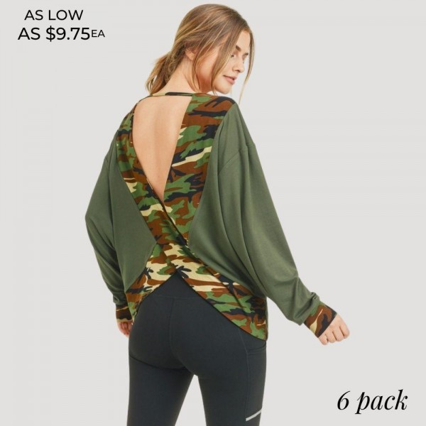 Women's Camouflage Striped Surplice Open-Back Dolman Sleeve Top. (6 Pack)  • Long dolman sleeves • Dropped shoulder seam • Camouflage edge stripes • Round neckline • Surplice open-back detail • Soft and comfortable fabric with stretch • Pullover styling • Soft and comfortable fabric with stretch • Layer over sports bras, camis, or bralettes • Imported  - 6 Shirts Per Pack - Sizes: 2:S 2:M 2:L - 95% Polyester / 5% Spandex