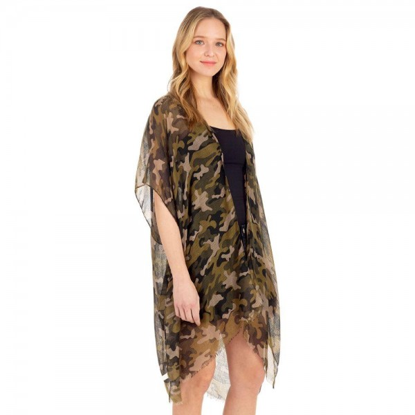 Lightweight Camouflage Print Kimono.   - 100% Polyester  - One Size Fits Most