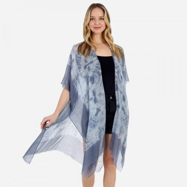 Lightweight Tie Dye Kimono.   - 100% Polyester  - One Size Fits Most