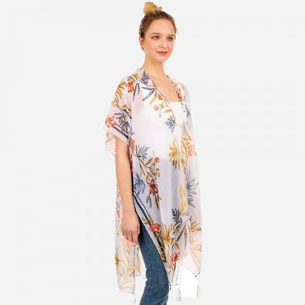 Lightweight Floral Print Kimono.   - 100% Polyester  - One Size Fits Most
